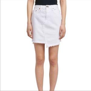 Rag & Bone White Denim Frayed Hem Skirt 26